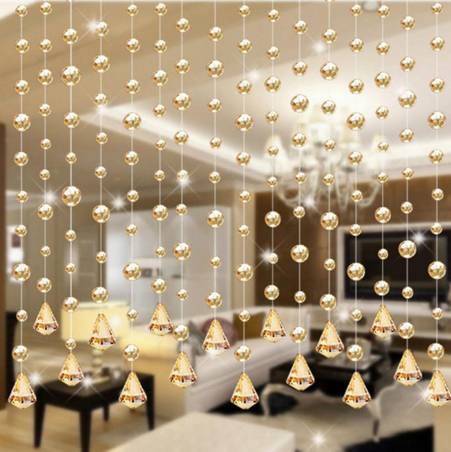 1 Luxury Glass Beads Door String Tassel Curtain Wedding Divider Panel Room Decor levert dropship 2jul3