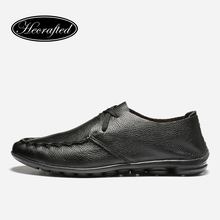 Main Véritable en cuir souple Hommes en cuir appartements chaussures 2017 automne marque chaussures pour hommes, originales Hecrafted hommes chaussures #5128