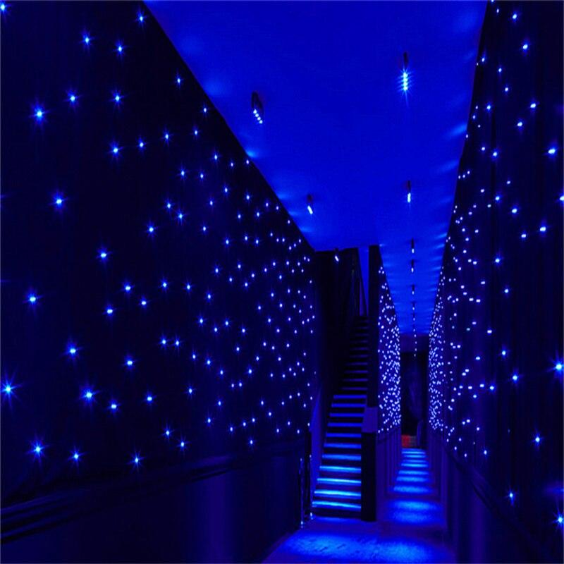 Luxusní 4X 8 metrů modrá bílá barva LED hvězda opona svatební fáze pozadí tkaniny pro svatební party taneční dekorace