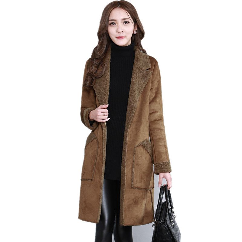 Winter Jacket Women  Plus Size Manteau Femme Lamb Wool Wadded Jacket Warm Thick Suede Winter Coat Women Long Jacket Coats C2599 цены онлайн
