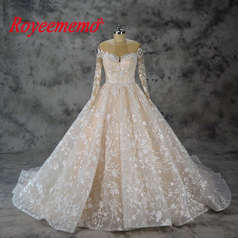 Vestido de Noiva manga longa vestido de Baile Robe De Mariage especial do projeto do laço Do Vintage nude tulle da luva do vestido de casamento de fábrica