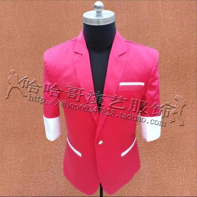 M-3XL Novo Bar boate maré homens roupas palco trajes ds cantor dj presidiu-rosa de manga curta terno Blazers de moda casaco
