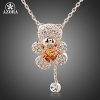 Cute Girl 18K Rose Gold Plated Rhinestones And Heart Shape Zircon Bear Jewelry Necklace FREE SHIPPING