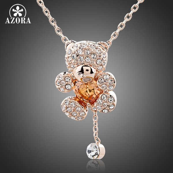 AZORA Cute Girl Rose Gold Color Rhinestones and Heart Shape s