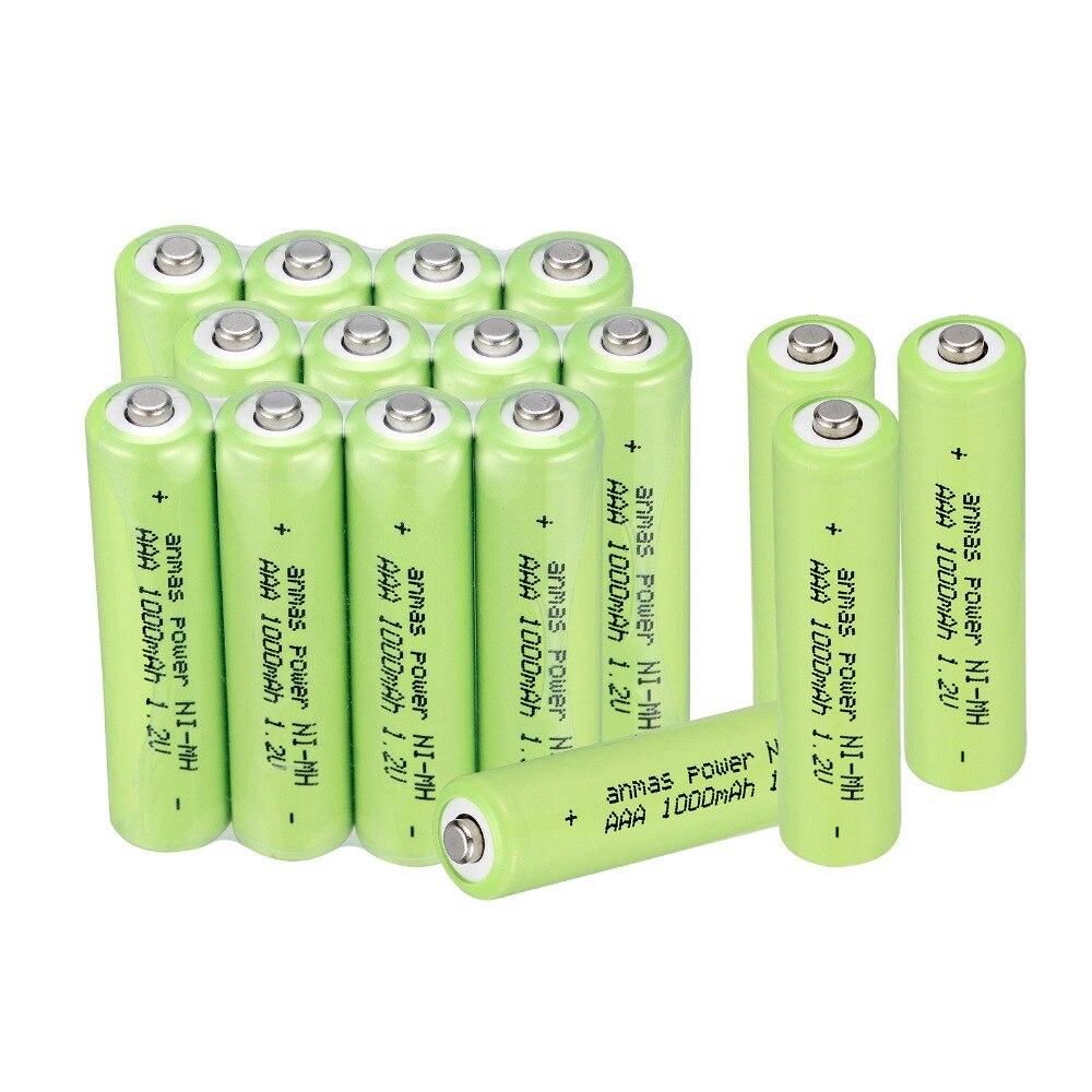 4/8/12/16 pces anmas power 1.2 v aaa baterias 3a 1000 mah bateria recarregável ni-mh baterias aaa bateria recarregável