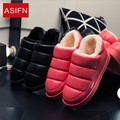 NewWinter Slipper Warm Cotton-padded Indoor Home Shoes Pu Leather Waterproof Couple Floor House Slippers Women Men High Quallity