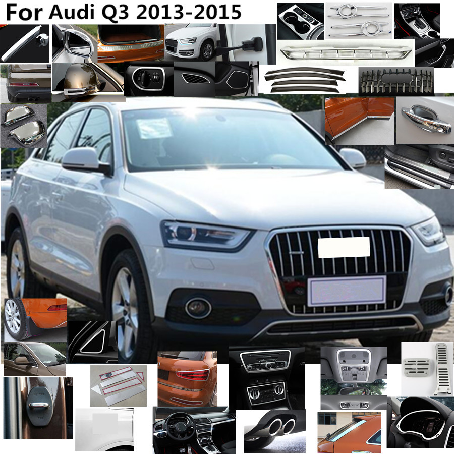 Car Styling detector stick Stainless steel Inside Door Audio Speak Sound Cover Ring trim parts 4pcs For Audi Q3 2013 2014 2015