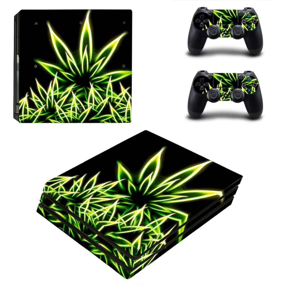 Fluorescence Leaf For PS4 Pro Skin Sticker For Sony Playstation 4 Pro Console and 2Pcs Controller Skins free shipping