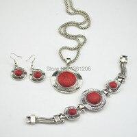 S5 Rode T Hanger & Earring & Armband per Set Jewlery Set, vrouwen, Vintage Look, Tibet, groothandelaar