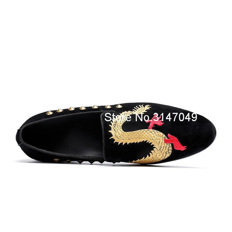 Stickerei Männer Homme Mokassin Männlichen Wildleder Drachen Leder Sozialen Schuh Müßiggänger Kuh Reise Gold Casual Handgemachte Schuhe Nieten g8RwnHqx