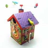 1Pcs Retro Bird Home Tinplate Clockwork Toy Vintage Tin Wind Up Toys For Children Classic Handmade Crafts