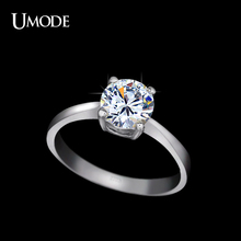 UMODE Halo Engagement Wedding Rings For Women Fashion Rose Gold Rhodium plated 1 25 AAA CZ