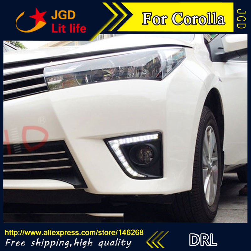 Free shipping ! 12V 6000k LED DRL Daytime running light for Toyota Corolla 2014 fog lamp frame Fog light Car styling