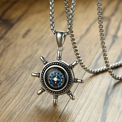 High Rudder Compass Pendant Necklace for Men Stainless Steel Outdoor Hiking Unisex Jewelry Gift 24 inch