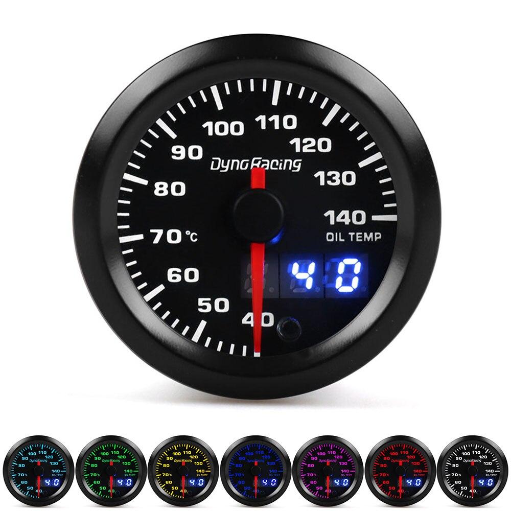 Otomobiller ve Motosikletler'ten Yağ Basıncı Göstergeleri'de Dynoracing Çift Ekran 52MM 7 Renkler Yağ sıcaklığı göstergesi 40 140 Santigrat Yağ sıcaklık ölçer step motor title=