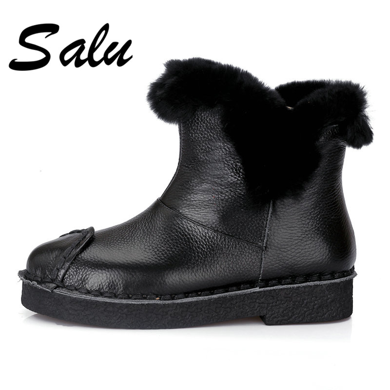 Salu 2018 new fashion autumn winter Genuine leather snow boots warm plush ankle boots flat slip on fashion shoes ladies women 2015 new arrival fashion women winter snow boots warm ladies shoes bowtie slip on soft cute shoes purple color sweet boots