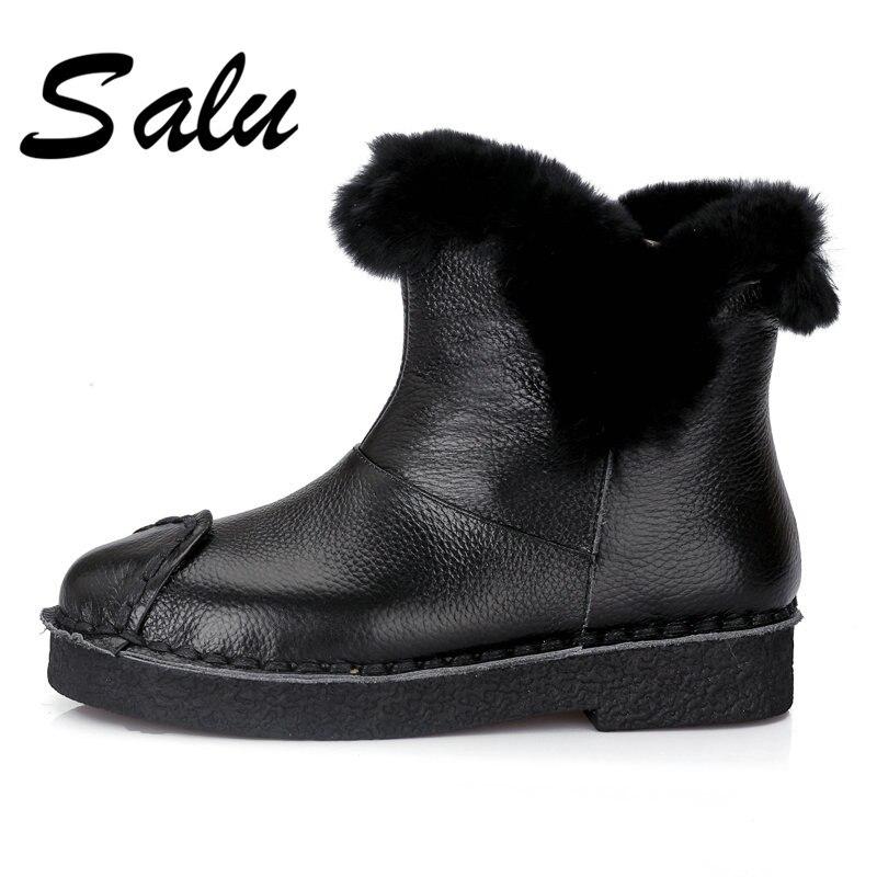 eebb764b8ce Invierno Botas Nieve De Plush Cuero Otoño Negro Genuino marrón Tobillo  Deslizamiento Mujeres Salu Nueva Zapatos ...