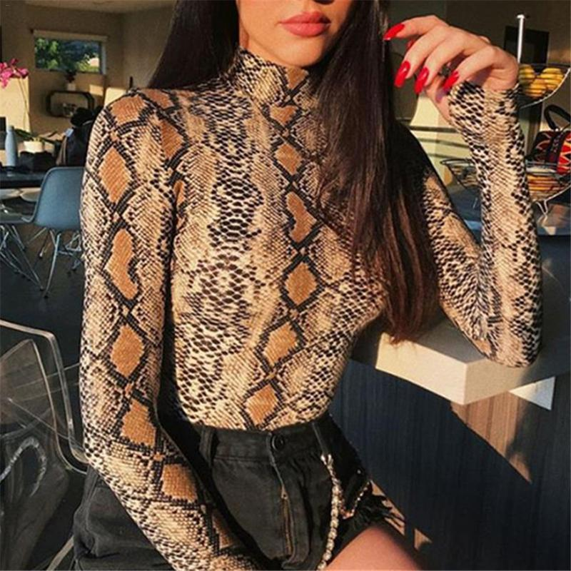 Sexy Snake Print 2018 New Women Autumn Winter Coveralls Slim Primer High-collar Long-sleeve T-shirt Wome Ladies Bottoming Shirt