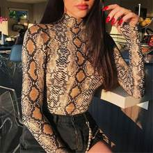Sexy Snake Print 2018 New Women Autumn Winter Coveralls Slim Primer High-collar Long-sleeve T-shirt Wome Ladies Bottoming Shirt(China)