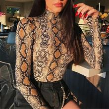 Sexy Snake Print 2018 New Women Autumn Winter Coveralls Slim Primer High-collar Long-sleev