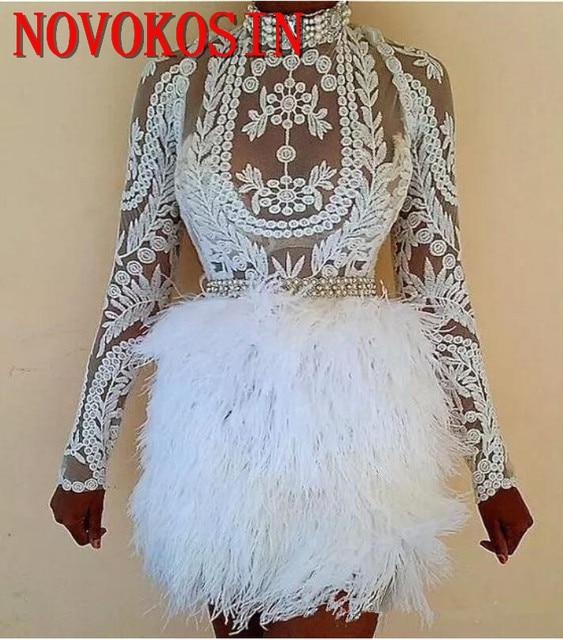 2019 High Neck Ostrich Feather Appliqued Transparent Short Mini Cocktail Dress Long Sleeve Prom Party Gowns vestido de festa 1