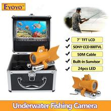 Eyoyo 7″ TFT LCD 50m/164ft CCD 800TVL Underwater Camera Fish Finder 24PCS White LEDs Adjustable w/4500mAh Battery Free Sunshade