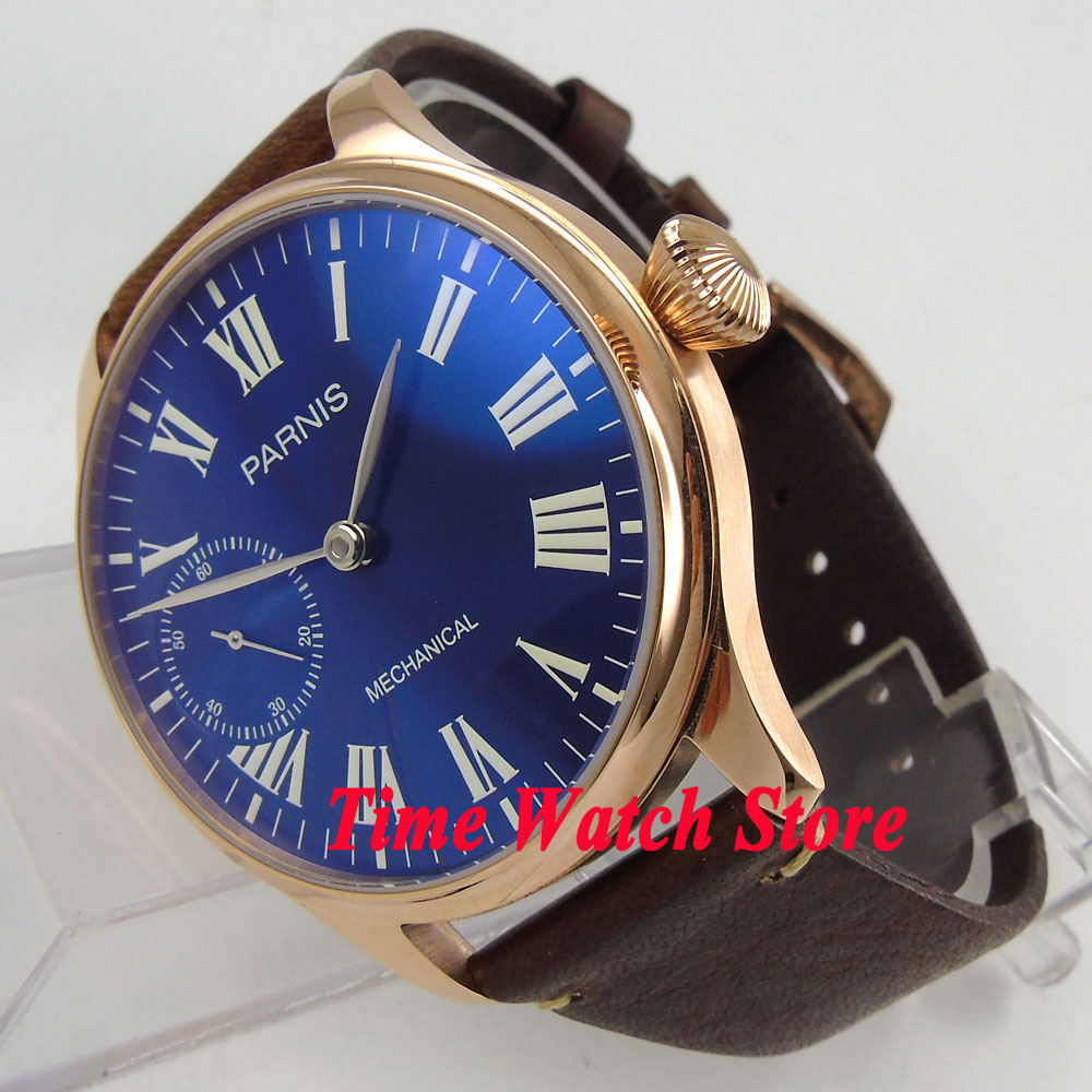 цена 44mm Parnis blue dial Roman numerals golden case luminous 17 jewels mechanical 6497 hand winding movement mens watch 872 онлайн в 2017 году