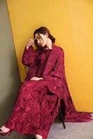 Miyake fold Autumn bronzing two piece set pleated long sleeve Windbreaker + large swing short sleeve dress IN STOCK