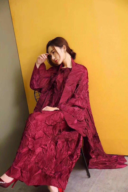 Miyake Fold Autumn Bronzing   Two-piece Set Pleated Long Sleeve Windbreaker + Large Swing Short Sleeve Dress   IN STOCK