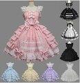 Envío gratis las mujeres del verano vestido de lolita vestido de encaje de gasa vestido de princesa medieval gótico cosplay disfraces de halloween para la muchacha
