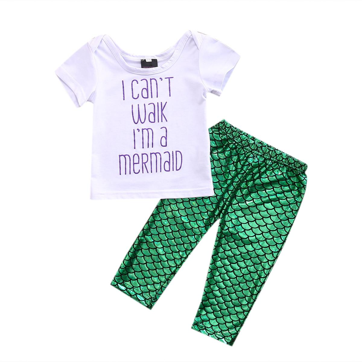 3PCS Set Newborn Baby Girls Mermaid Clothes 2017 Summer Short Sleeve Letter Printed T-shirt+Green Mermaid Pant Legging Outfits disney baby baby girls newborn 2 piece legging set