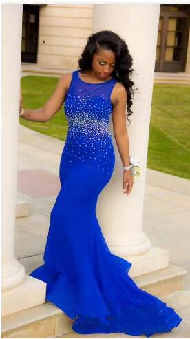 vestido de festa longo Mermaid Evening Dress 2017 Beading Sweep Train sexy Backless Royal Blue Prom dresses Evening Party gown