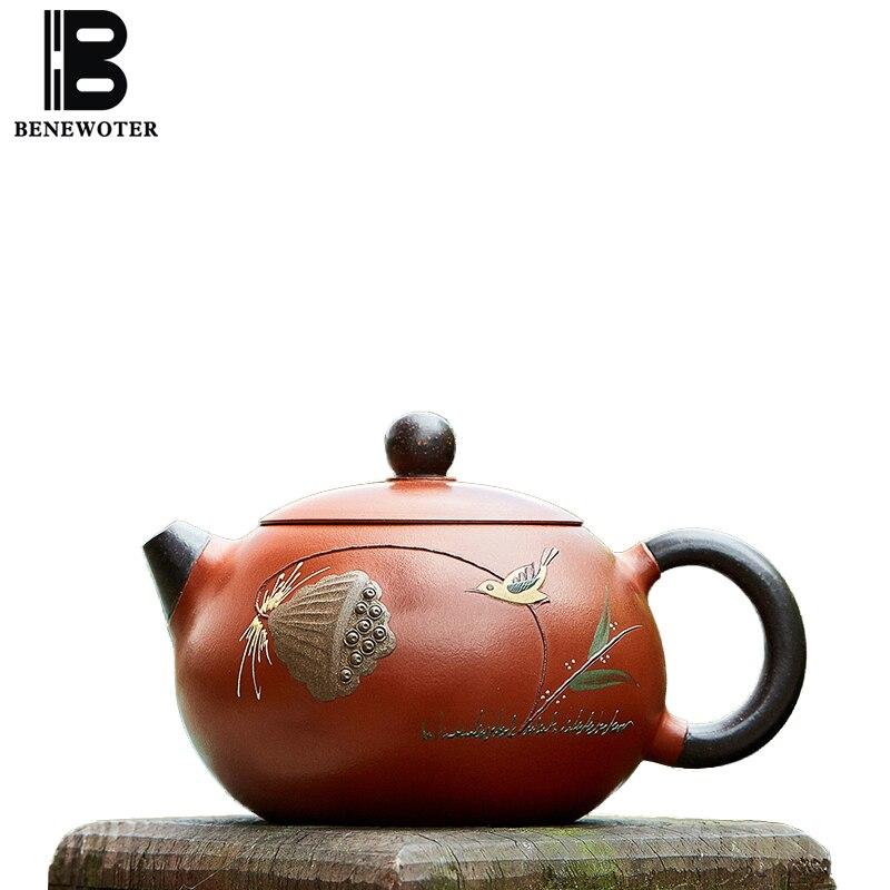 210cc Исин фиолетовый глина xishi Чай горшок для дома Посуда для напитков сырой руды лотоса узор Чжу грязи Zisha горшок Чай церемонии чёрный Чай Чай