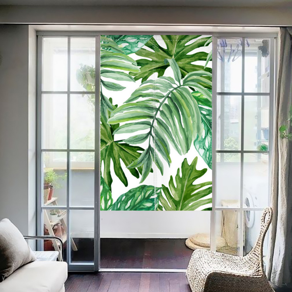 Japanese Style NOREN Curtain Tropical Plants Green Leaves Canvas Door Curtain for Kitchen Store Tapestry 85x100/85X140/85X180cm-in Window Screens from Home ... & Japanese Style NOREN Curtain Tropical Plants Green Leaves Canvas ...