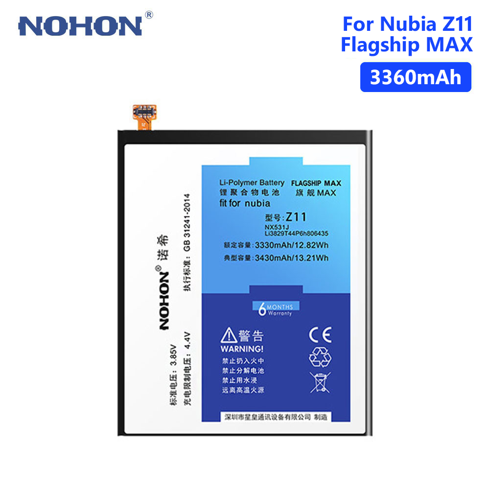NOHON 3430mAh NX531J Li3829T44P6h806435 Li-ion Li Ion Lithium Battery Replacement For ZTE Nubia Z11 + Repair Tools