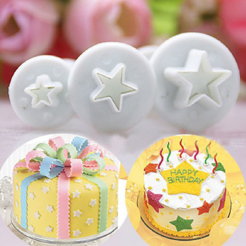 Cake Decorating Sugar Dough : 3Pcs/Set Mini Star Fondant Cake Decorating Plunger Biscuit ...