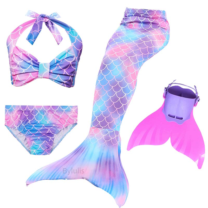 4pcs Bikini Sets Swimmable Mermaid Tails Swimsuit Realistic for Kids Girls Pool