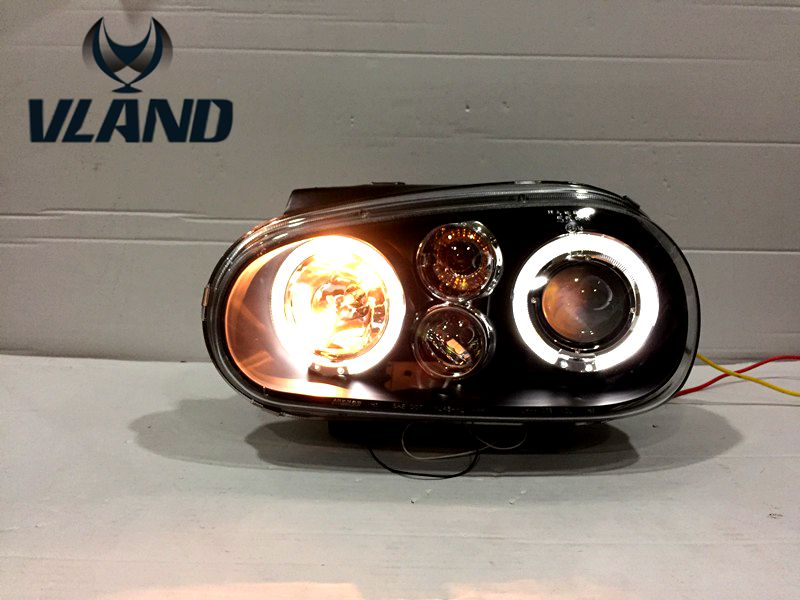 Free Shipping Vland for VW Golf 4 Headlight 1998 2000 2002 Head Light LED Angle Eyes with BI Xenon H7 H1 Plug and Play Design free shipping for vland car head lamp for hyundai elantra led headlight hid h7 xenon headlamp plug and play for 2011 2013