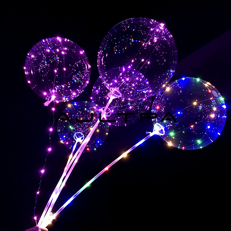300sets Led Bobo Balloons Wedding Decoration Each Set Includes 18inch Luminous Led Balloon + 80cm Rod + 3M LED Strip Battery Box