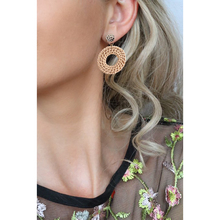 Big Round Wooden Weaving Drop Earrings for Women Simple Fashion Alloy Dangle Coffee Color