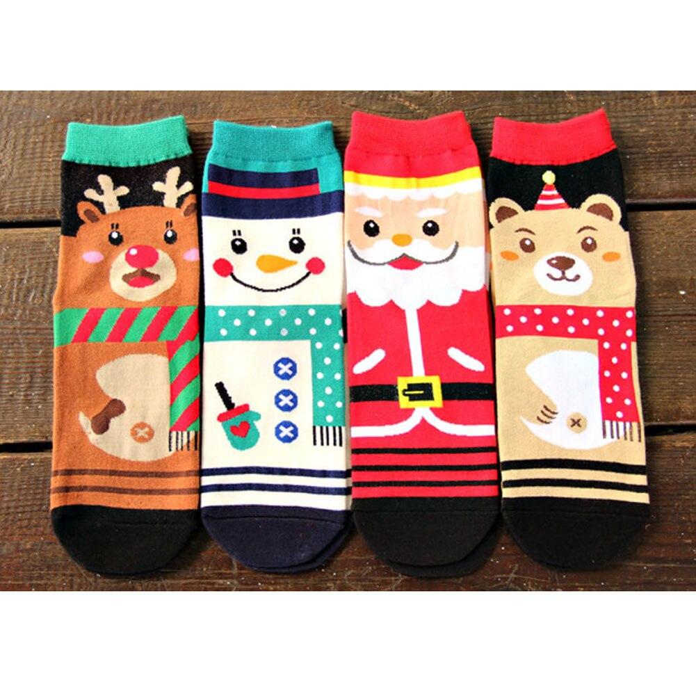 New Christmas Cartoon Santa Elk Happy Socks 4 Designs Deer Funny Winter Ankle Cotton Female Socks Happy Christmas