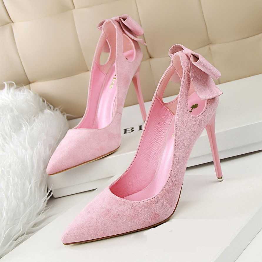 Spring Summer Bowknot Hollow Women Pumps Fashion Sexy High Heels Slip-on Pointed Toe Thin Heel Ladies Wedding Party Shoes купить