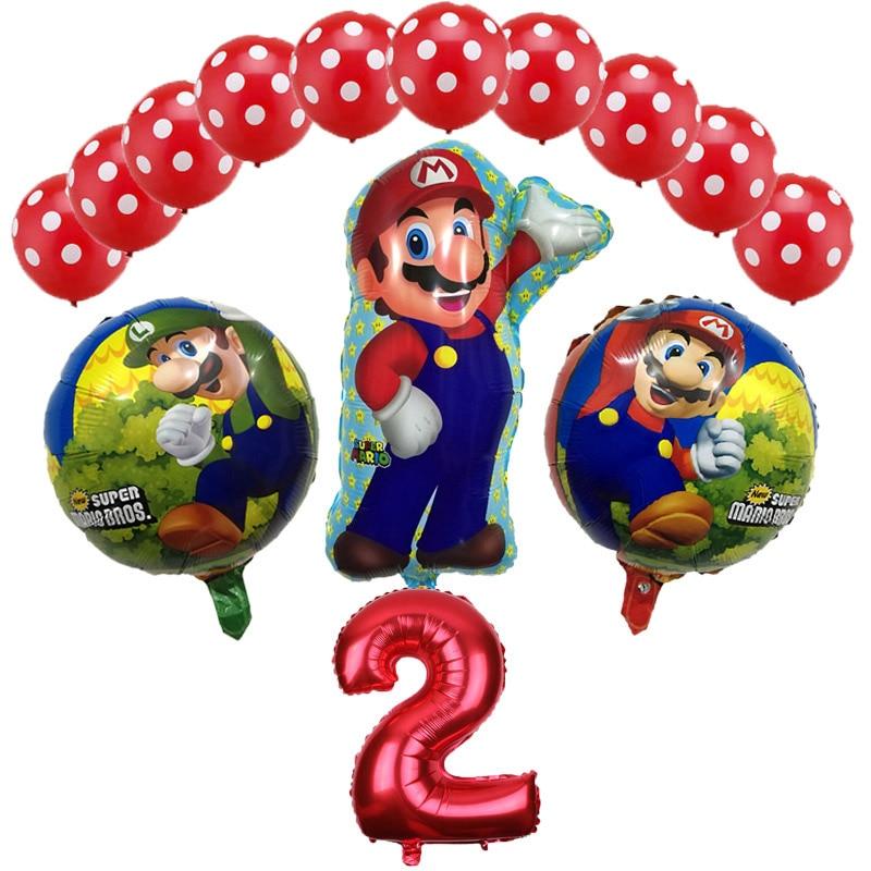 13 pz/lotto Super Mario Bros Palloncini Festa di Compleanno Luigi Mario Bros Elio Palloncino 12 pollici Rosso Blu in lattice Decorazione Fornitori di Beni