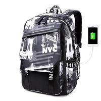 Multi function USB Charging Men Backpacks Laptop Canvas Backpack School Bags for Teenagers Boys Large Capacity Travel Backpack
