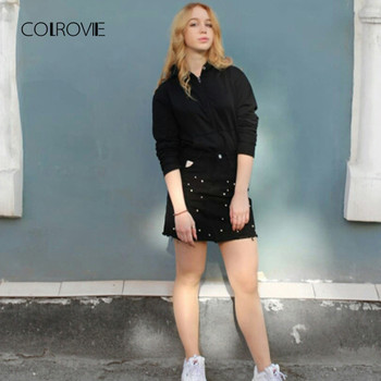 COLROVIE Pearl Detail Ripped Skirt Women Black Cut Hem Cute Denim A Line Skirts Fashion Spring Fall Girls Casual Skirt 5