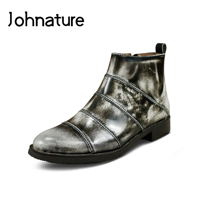 Johnature 2019 New Genuine Leather Handmade Retro Casual Round Toe Equestrian Solid Sewing Ankle Boots For Women WinterJohnature 2019 New Genuine Leather Handmade Retro Casual Round Toe Equestrian Solid Sewing Ankle Boots For Women Winter