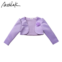 ActhInK New Baby Girls Bolero Children Formal Short Jacket for Girls 5 Designs Girls Wedding Dress Cape Girls Party Bolero C312 cheap Outerwear Coats Jackets Full Acrylic Polyester COTTON Fits true to size take your normal size V-Neck Solid Oxford 80-150 cm