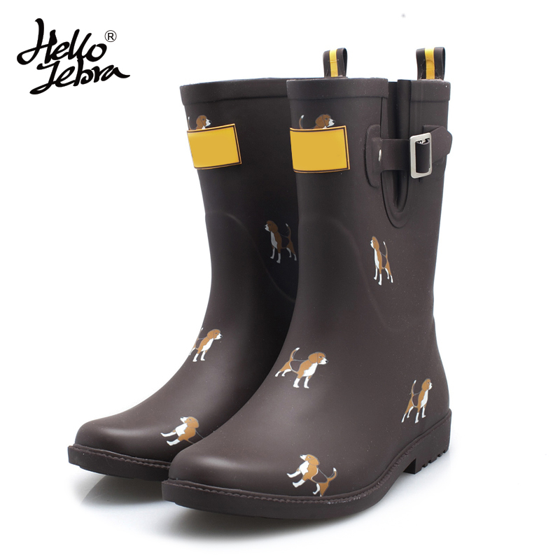 Hellozebra Women Fashion Printing Animals Rain Boots Ladies Solid Rubber Nubuck Leather Low Heel Slip Waterproof Buckle Rainboot женские леггинсы women s fashion boutique show faux wf 9059 br wf 9059