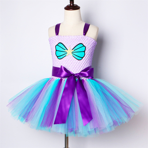 Image 3 - Girls Mermaid Tutu Dress with Headband Outfit Under The Sea Birthday Theme Party Dress for Kids Girl Princess Mermaid Costume