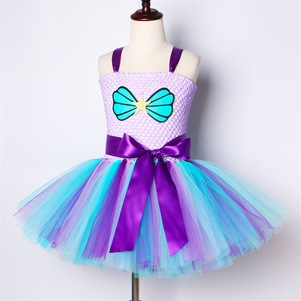 Image 3 - Mermaid Girls Tutu Dress with Headband Outfit Under The Sea Birthday Theme Party Dress for Kids Girl Princess Mermaid CostumeDresses   -
